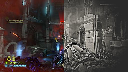 Screenshot of DOOM Eternal using Old Film, Details, SpecialFX and Splitscreen Freestyle Game Filters