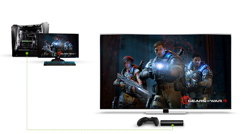 Gamestream demonstration, showing a PC playing Gears of War 4 streaming to a NVIDIA shield connected to a TV