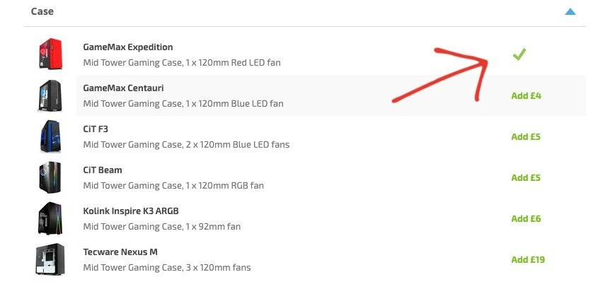 Arrow pointing to Case selections on the Customisation page of a Horizon PC