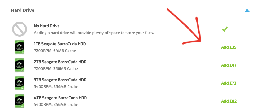 Arrow pointing to the 1TB Hard Drive selection on the Customisation page of a Horizon PC