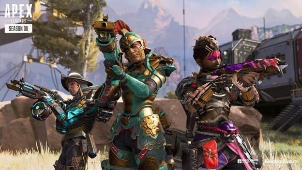 Three player characters from Season 08 of Apex Legends