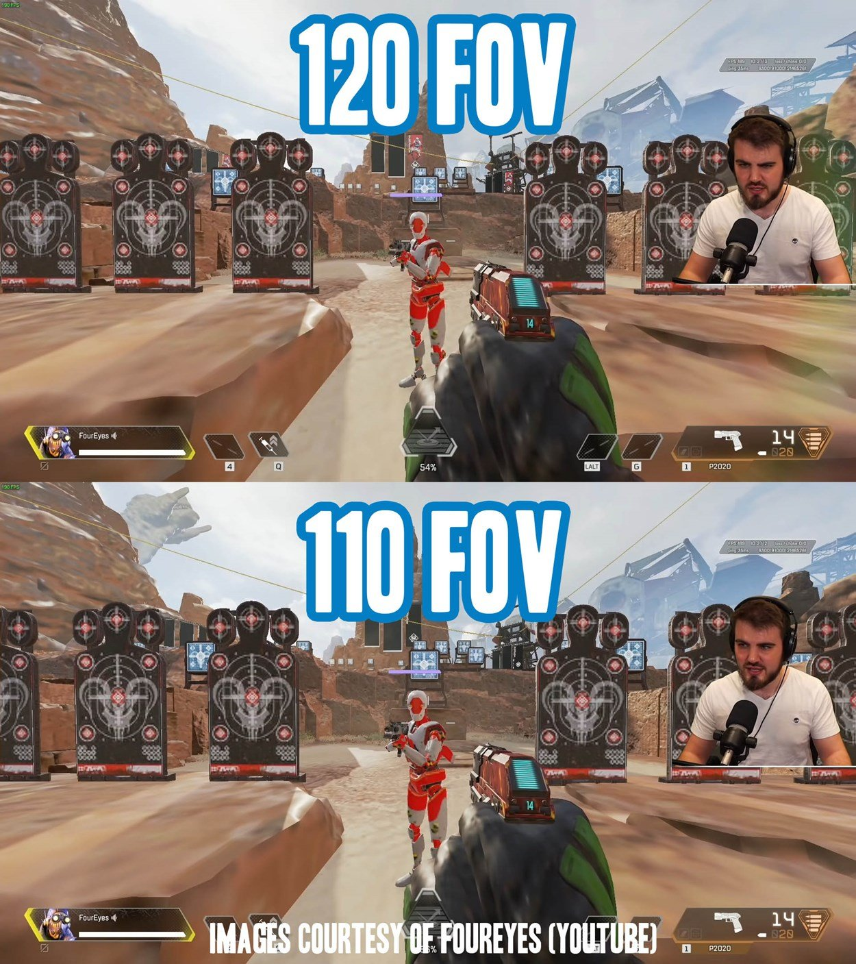 Demonstration of the amount of area you can see around you based on your FOV setting