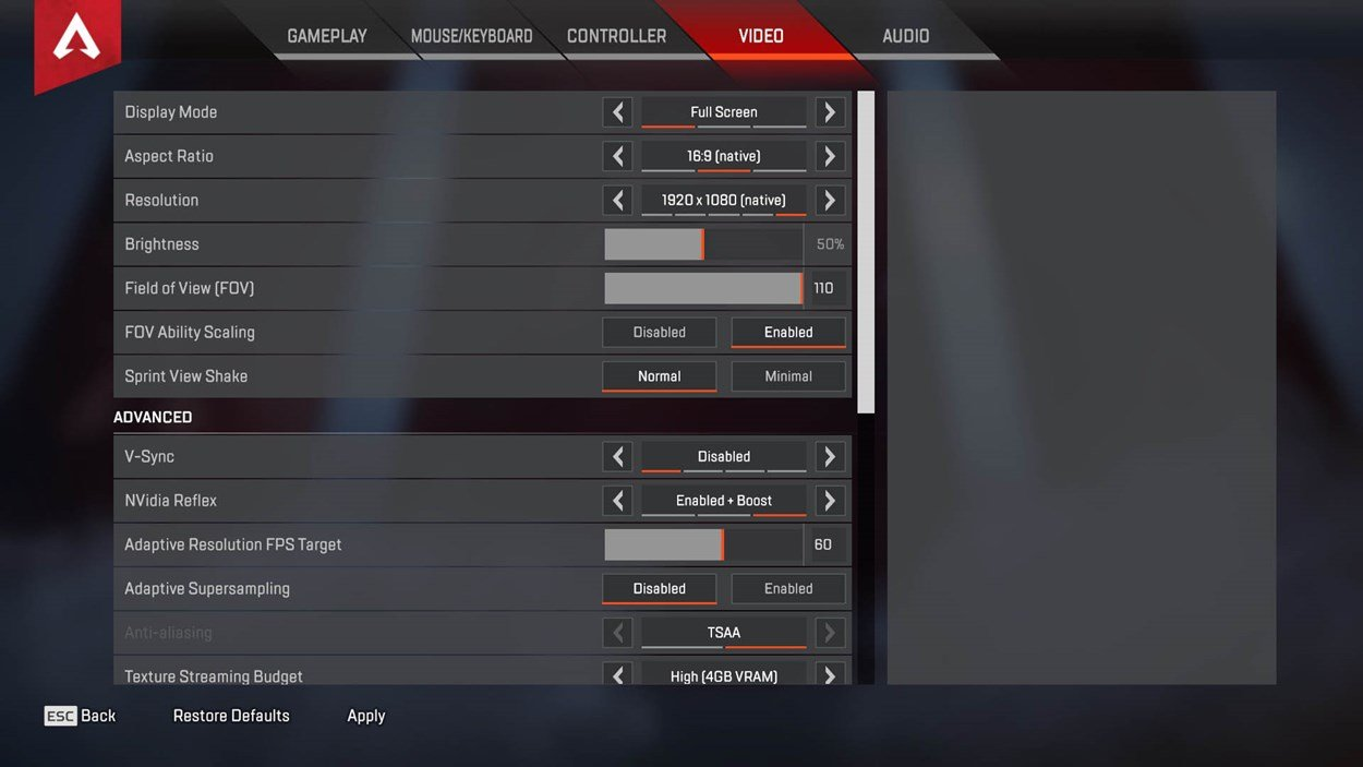 The main Video Settings options menu from Apex Legends