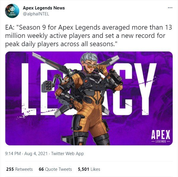 Tweet from Apex Legends News announcing the average 13 million weekly active players