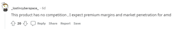 Reddit comment from user _lostincyberspace_ regarding expectations of AMD margins and market penetration