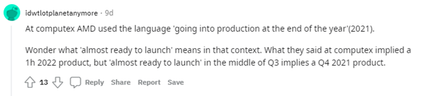 Reddit comment by idwtlotplanetanymore regarding Milan-X being almost ready to launch
