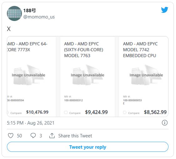 Twitter user @momomo_us tweet regarding pricing on AMD Milan-X chips