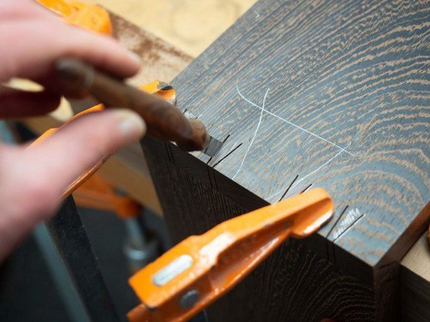 Close up image of Ikigai dovetail joints cutting
