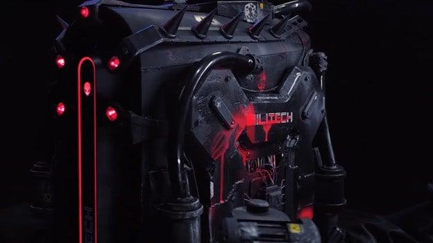 Close up shot of Militech 'Curvhead' Utility Bot Maelstrom Mod
