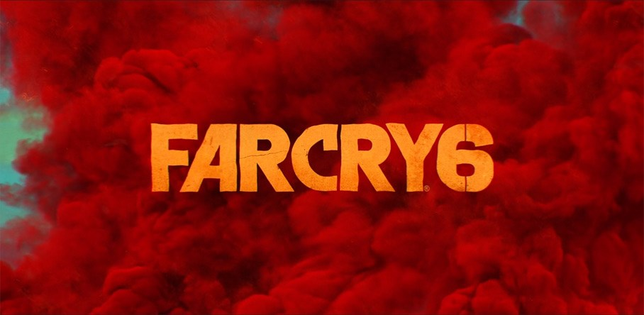 Far Cry 6 logo in front of a red cloud