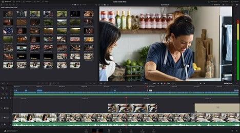 A screenshot of DaVinci Resolve editing suite