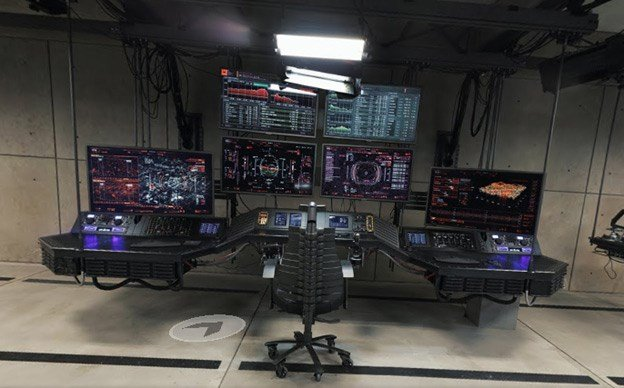 The 'Batcave' from Google Maps, with several wall monitors