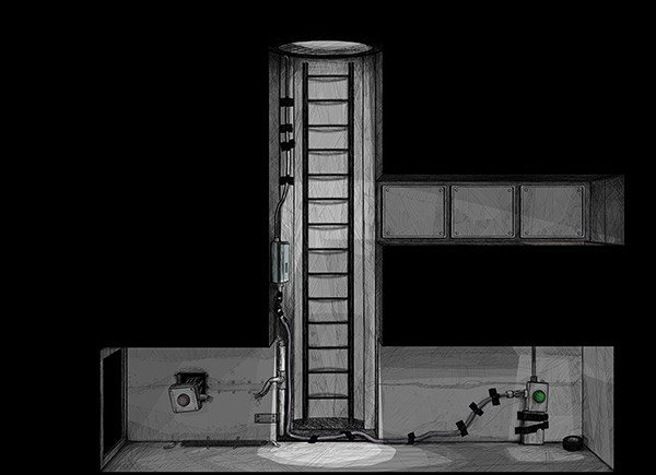 Level design screenshot in black and white from 'A Crooked Heart'