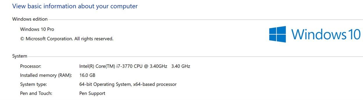 System information screenshot for a game developer PC setup