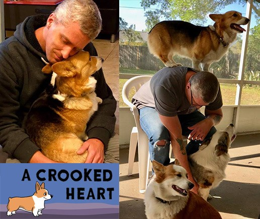 Matt Tardiff, 'A Crooked Heart' solo developer, with his Corgis