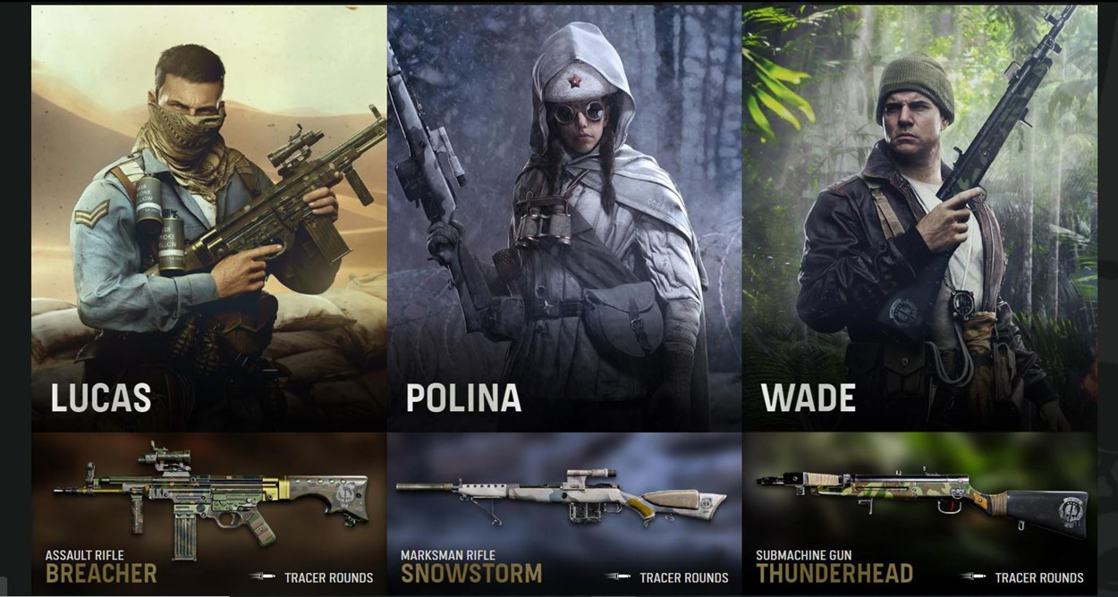 Lucas, Polina and Wade along with their three classes in Call of Duty - Vanguard