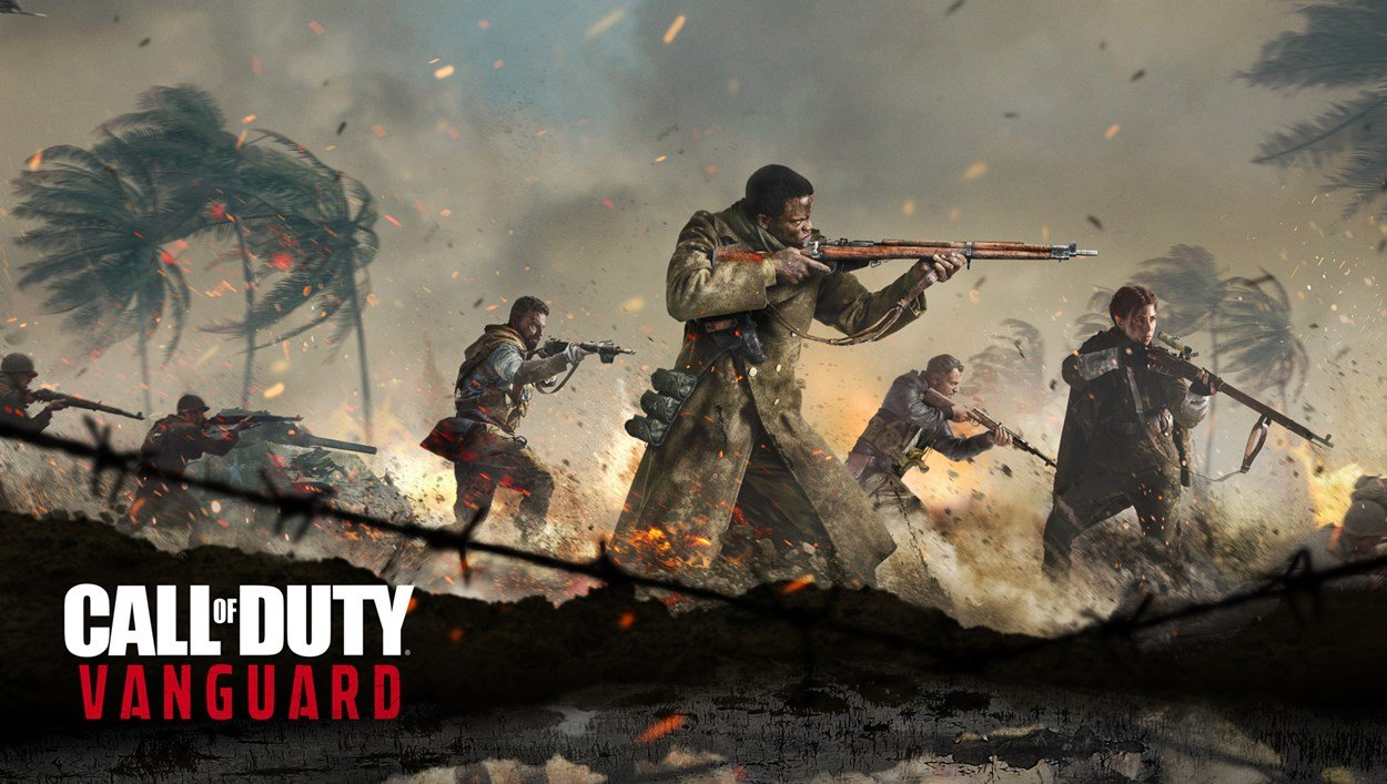 Members of an army traversing a battlefield in Call of Duty - Vanguard