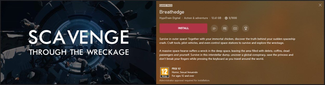 Details of the game Breathedge from the Xbox app, including the install button and several extra unlabeled buttons