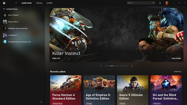 How the Xbox app looks on the main dashboard