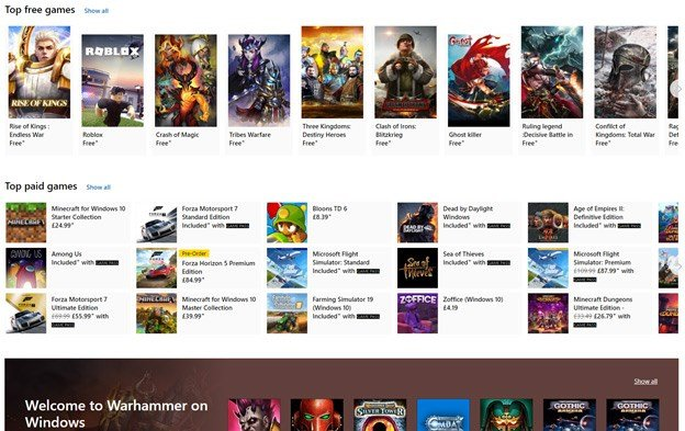A view of just some of the gmaes on the Microsoft Store