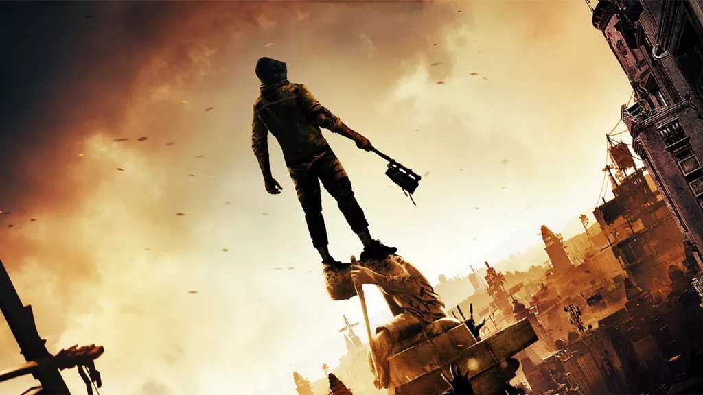 The main protagonist of Dying Light 2 standing on a block overlooking a damaged city
