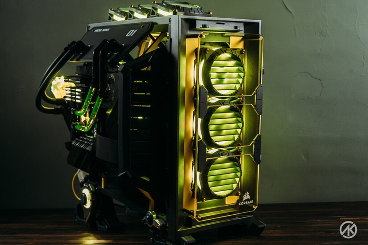 Mecha 5000X PC case mod viewed from front right