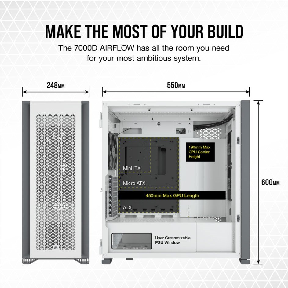 Internal sizes and measurements of the Corsair 7000D Airflow