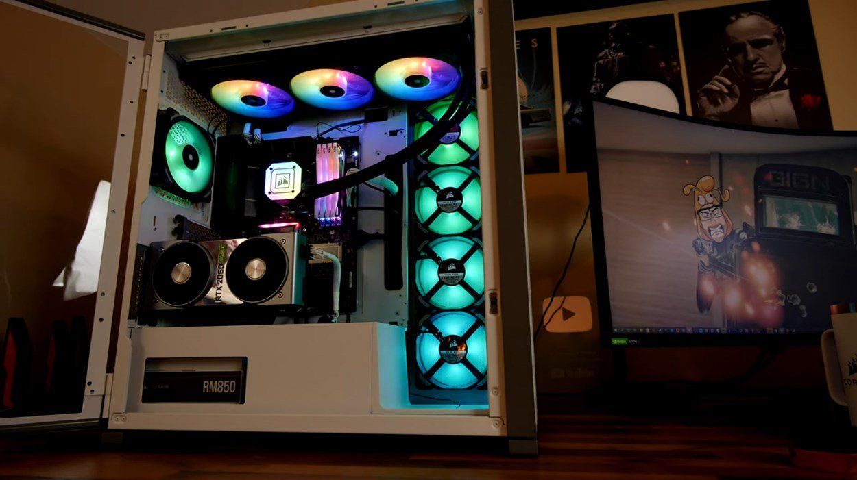 Provoked Prawn Corsair 7000D PC Case Mod with RGB Lights displayed