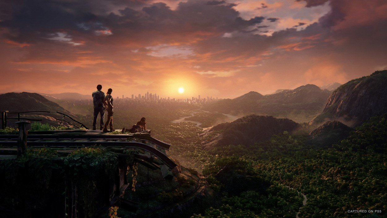 Characters from Uncharted overlooking a mountain range and jungle from up high.