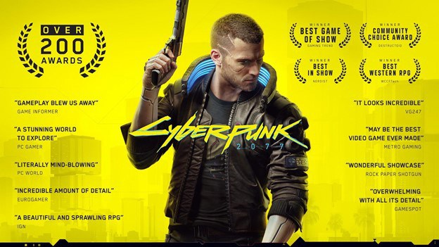 The many awards given out for CD Projekt Red's Cyberpunk 2077.