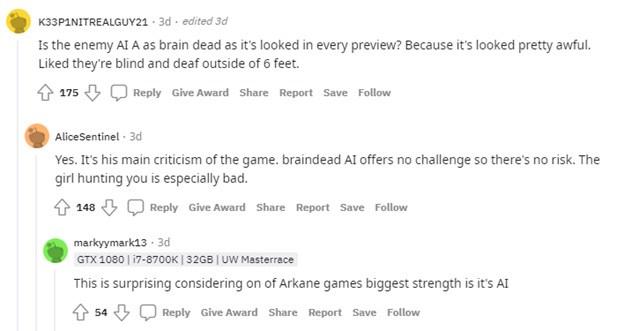 Reddit comments regarding Deathloop AI problems.