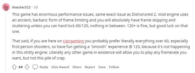 Reddit comment regarding Deathloop performance issues.