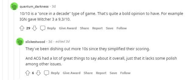 Reddit comment regarding Deathloop rating on IGN.