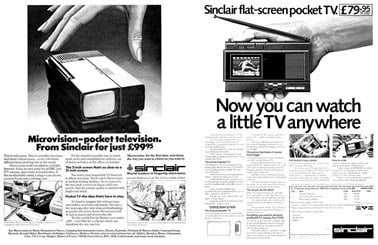 Original magazine advertisement for Sinclair Microvision TV and flat-screen TV.
