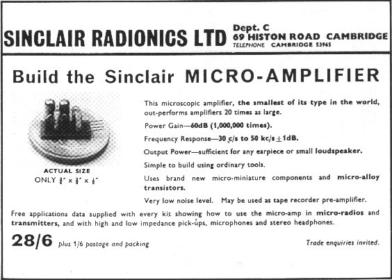 Sinclair Micro-Amplifier – the first Sinclair Radionics product.