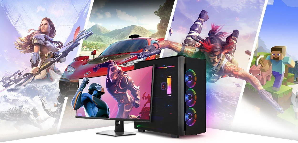 A gaming PC in front of images of various games including Horizon, Forza and Minecraft.