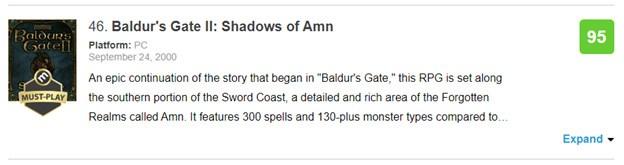 Baldur's Gate 2: Shadows of Amn's 95/100 rating on Metacritic.