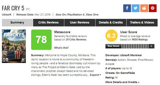 Far Cry 5's 78/100 rating on Metacritic.