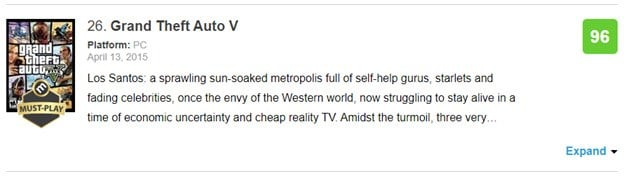 Grand Theft Auto V's 96/100 rating on Metacritic.