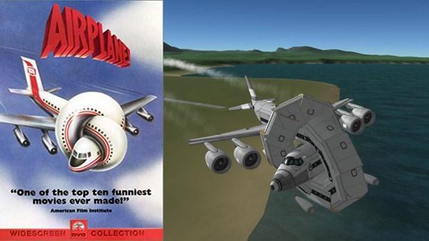 Reddit user u/everydayastronaut's Kerbal Space Program Airplane parody.