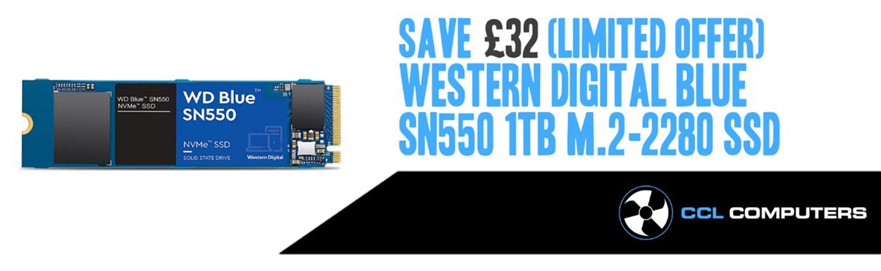 Western Digital Blue SN550 1TB SSD Drive for Gaming Storage.