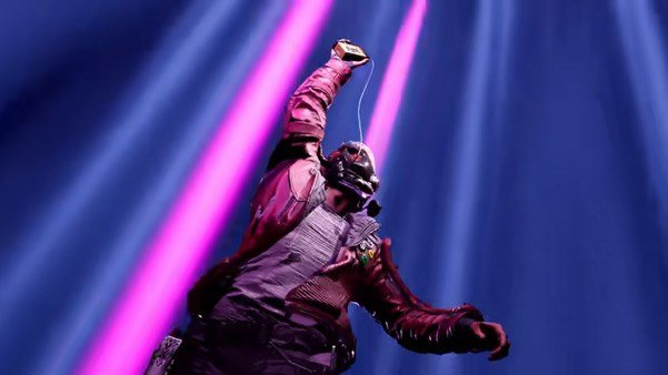 Star-Lord hitting the play button mid-battle in Guardians of the Galaxy.