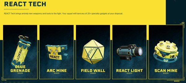 The REACT Tech used by the characters in Rainbow Six Extraction.