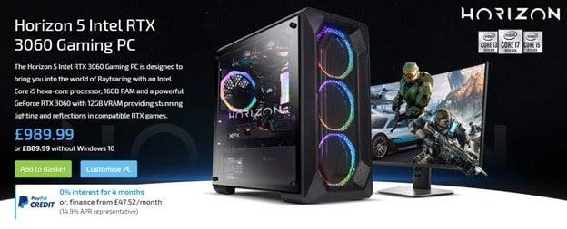Horizon 5 Intel RTX 3060 Gaming PC £989.99.