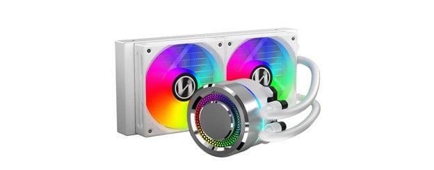 Lian Li Galahad 240mm RGB AIO white CPU cooler.