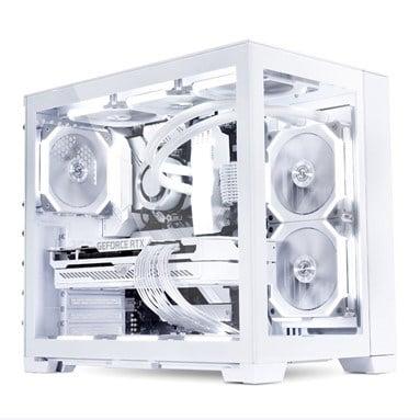 Full white PC build inside a Lian Li O11D Mini-S Snow Edition white case.
