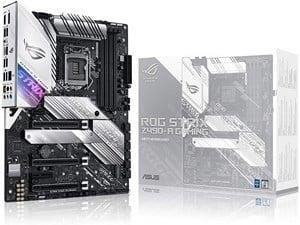 ASUS ROG Strix Z490-A white gaming motherboard.