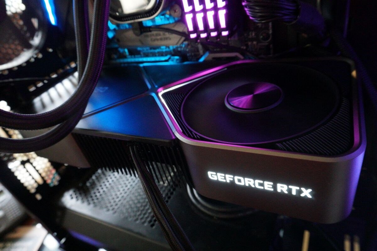 A NVIDIA GeForce RTX 30 Series graphics card installed in a PC.