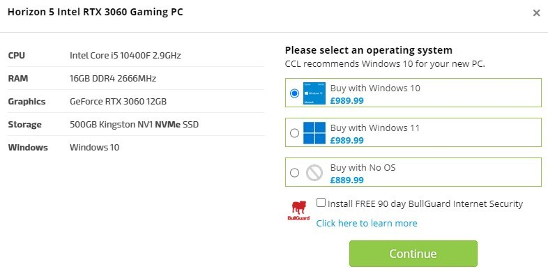Windows 11 OS option on our Home PCs.