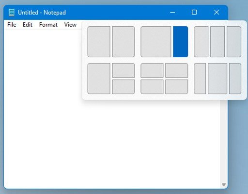 Example of the new Snap Layout system for snapping Windows into different positions and groups.